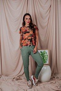 Calça Canelada verde sálvia