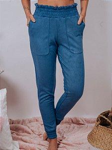 Calça Jogger em Suede azul