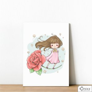 Placa Decorativa Menina Na Rosa
