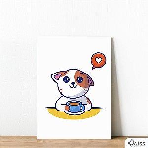 Placa Decorativa Love Coffee Cat