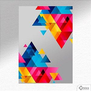 Placa Decorativa Composição De Triângulos Em Cores  A4