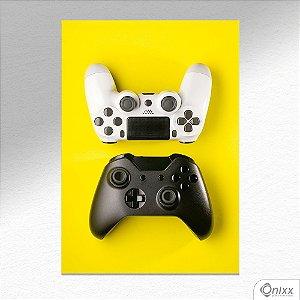 Placa Decorativa Controles Black White Fundo Amarelo A4