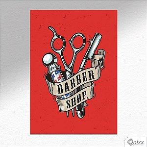 Placa Decorativa Red Poster Barbershop A4