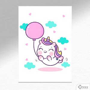 Placa Decorativa Unicorn Balloon A4