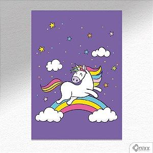 Placa Decorativa Rainbow Unicorn A4