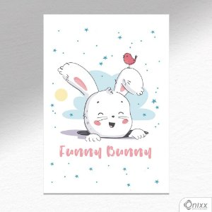 Placa Decorativa Funny Bunny A4