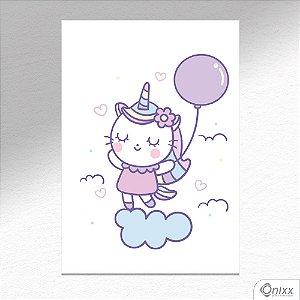 Placa Decorativa Gatinha Unicórnio Nas Nuvens A4