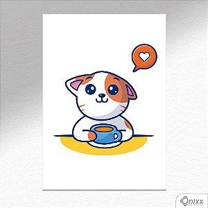 Placa Decorativa Love Coffee Cat A4