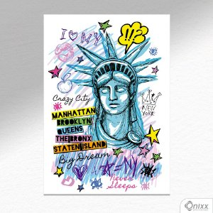 Placa Decorativa Popart NY A4