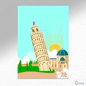 Placa Decorativa Série Love Italy Tower Of Pisa A4