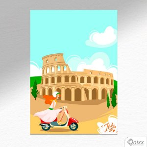 Placa Decorativa Série Love Italy Coliseum A4