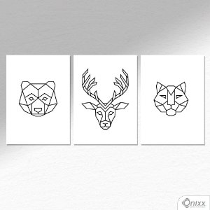 Kit de Placas Decorativas Animais Geometricos A4