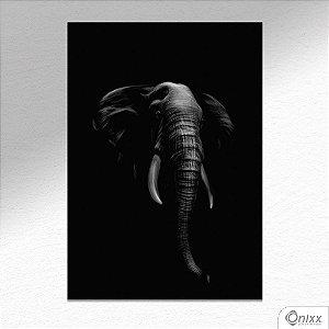 Placa Decorativa Série Animais Black ( Elefante ) A4