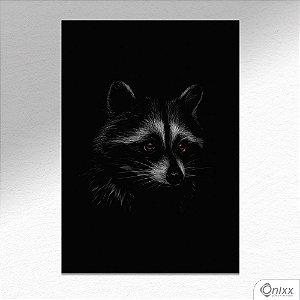 Placa Decorativa Série Animais Black ( Guaxinim ) A4