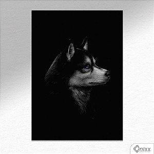 Placa Decorativa Série Animais Black ( Husky Siberiano ) A4