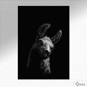 Placa Decorativa Série Animais Black ( Lhama ) A4