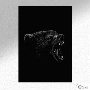 Placa Decorativa Série Animais Black ( Urso ) A4