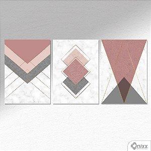 Kit De Placas Decorativas Formas Geometricas Em Mármore A4