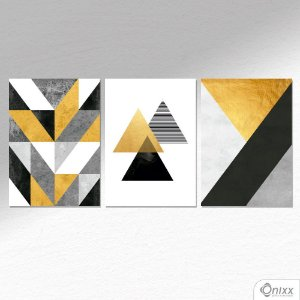 Kit De Placas Decorativas Geometric Forms Gray & Gold A4