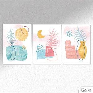 Kit De Placas Decorativas Jarros em Aquarela A4