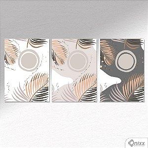 Kit de Placas Decorativas Folhagem em Neutra A4