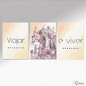 Kit de Placas Decorativas Viajar e Viver A4