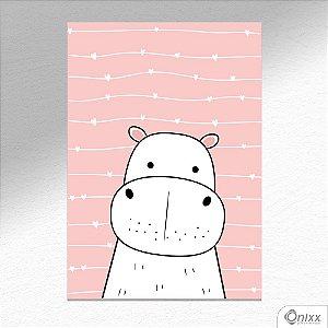 Placa Decorativa Série Animais Fofos ( Hipopótamo ) A4