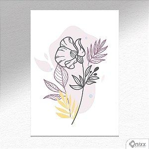Placa Decorativa Flor Ilustrada Em Tons Leves A4