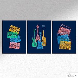 Kit de Placas Decorativas Pop Music A4