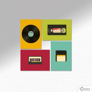 Kit de Placas Decorativas Mídia Retrô A4