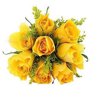 Buquê com 08 Rosas Amarelas Nacionais