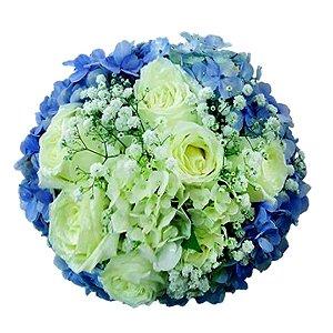 Buquê de Noiva com Hortênsia Azul