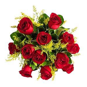 Buquê com 12 Rosas Nacionais Vermelhas