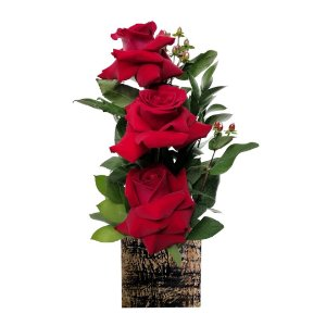 Arranjo Beleza Colombiana com 03 Rosas Vermelhas Colombianas no Cachepot de Madeira
