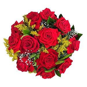 Buquê com 12 Rosas Colombianas Vermelhas