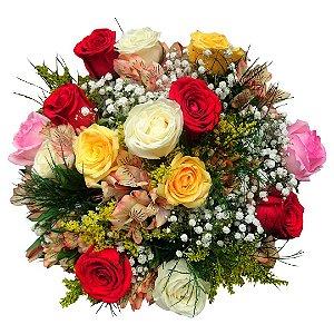 12 Rosas Coloridas e Astromélias