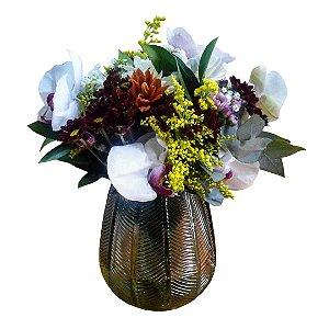 Arranjo Mix de Flores Selecionadas (Orquídeas, Cravos, Cravinia e Folhagem) no Vaso de Murano