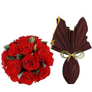 Buquê de Rosas Vermelhas e Ovo de Chocolate
