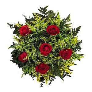 Buquê Tradicional com 6 Rosas Nacionais