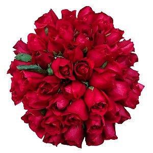 Buquê com 50 Rosas Vermelhas Nacionais