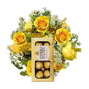 Buquê com 12 Rosas Amarelas Nacionais + Ferrero Rocher