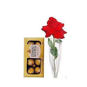 01 Botão de Rosa Colombiana + Ferrero Rocher