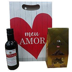 Vinho Pequeno + Caixa com Alpino + Caixinha de Presente