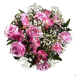 Buquê com 06 Rosas Cor de Rosa Nacional e Astromélias