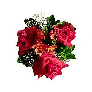 Buquê com 03 Rosas Colombianas Vermelhas e Astromélias Laranjas