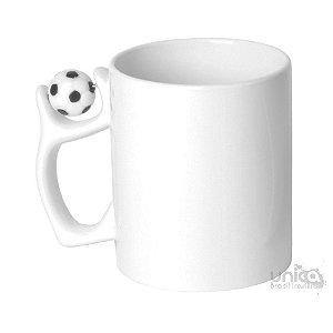 Caneca Branca com alça de Bola de Futebol