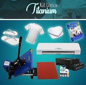 Kit Unica Titanium Prensa Plana 38x38 + Silhouette + Impressora + Curso Presencial de Silhouette