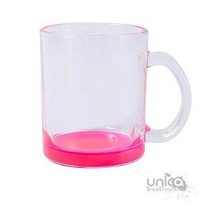 Caneca em Vidro Transparente Fundo Rosa 300ml