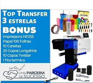 Kit Unica 3 ESTRELAS  Top Transfer 3 Estrelas 6 Em 1 + Impressora HP a laser