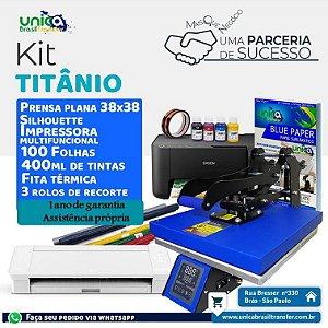 Kit Unica Titanium Prensa Plana 38x38 + Silhouette Cameo 4 + Impressora Sublimática